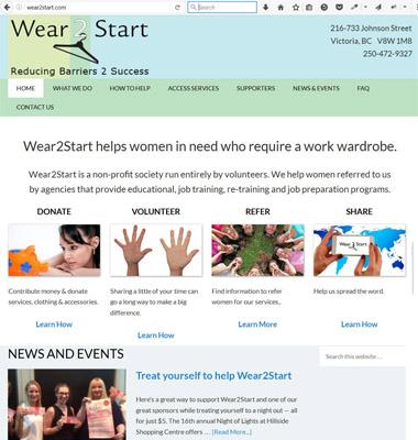 Wear2Start charitable society website (wear2start.com) link